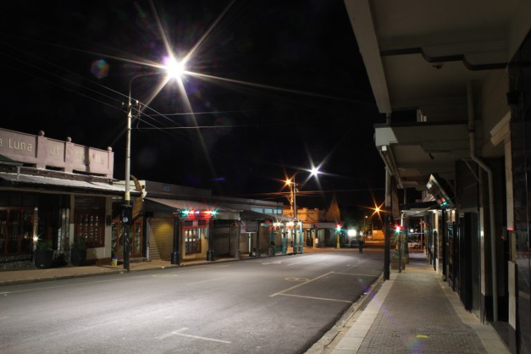 Looking down an empty seventh street in Melville